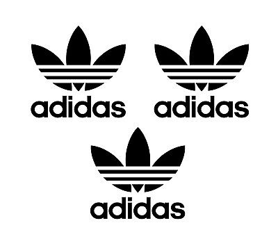 3 Adidas Iron On Heat Transfer logo Vinyl T-shirts 50mm x 50mm (5cm) Black