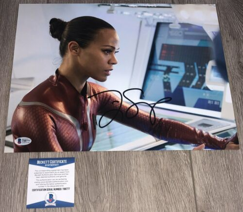 ZOE SALDANA SIGNED AUTOGRAPH STAR TREK AVATAR 11x14 PHOTO wPROOF BECKETT BAS COA