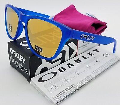 NEW Oakley Frogskins XS sunglasses Sapphire 24K gold 9006-0453 kids blue (Oakley Sunglasses Women)