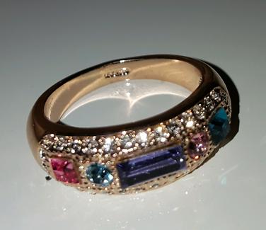 18 kt gold filled Rose Crystal Ring◇◇ Blair Athol 2550