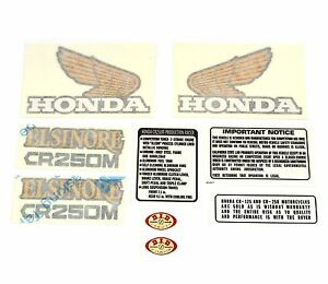 Decal Set - Honda CR250M Elsinore 1973-1975 - Gas Tank Side Covers Warning Label