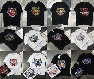 Men and Women New KENZO tiger head embroidery couple Short T-shirt All Color wit
