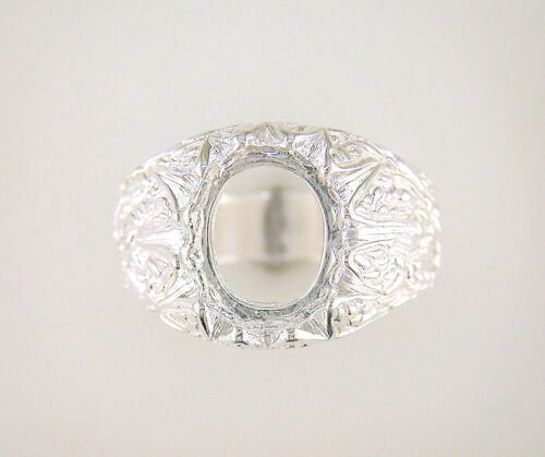 Mens Oval Cabochon Donello Ring Setting Sterling Silver