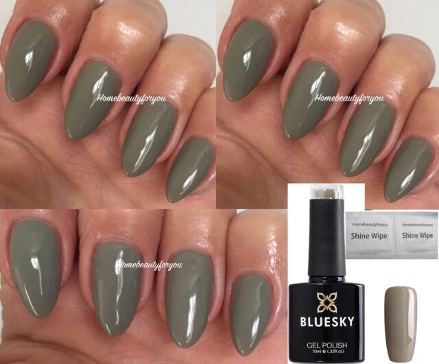 Bluesky A66 Greystone Khaki Green Rubble Nail GEL Polish UV LED Soak ...
