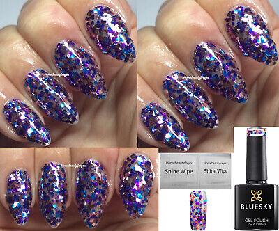 BLUESKY GEL POLISH IBIZA GLITTER SUM BRAND NEW NAIL UV LED SOAK OFF, ANY 2 =FILE