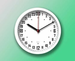 "24 Hours wall clock 9"" (22.8cm.) Round White, White Face. Military Time."