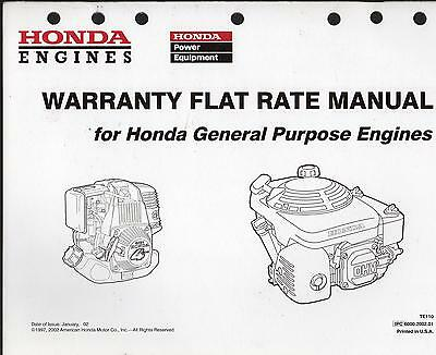 Honda Engines Warranty Flat Rate Manual For General Purpose Engines