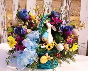 Spring-Aqua-Blue-Teal-Easter-Basket-Centerpiece-Bunny-Rabbit-Eggs-Decoration