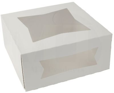 9 X 9 X 4 White Paperboard Auto-popup Window Pie Bakery Box Pack Of 15