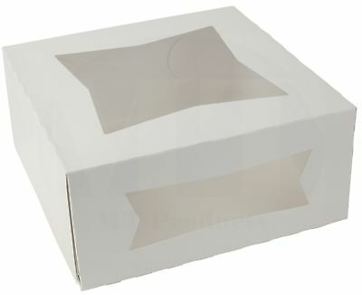 "9"" x 9"" x 4"" White Paperboard Auto-Popup Window Pie / Bakery Box (Pack of 15)"