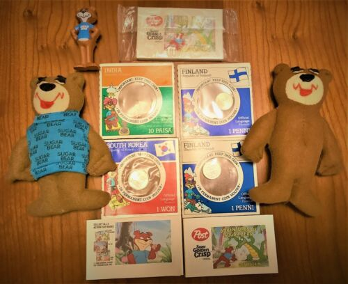 Vintage Cereal Sugar Bear Figure, Two Dolls, 3 Flip Books, And Coins Lot 1988!