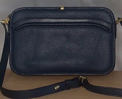 Gucci Vintage Navy Blue Leather Small Crossbody Bag