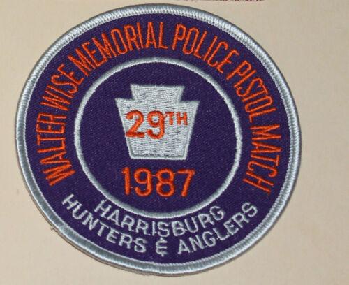1987 HARRISBURG HUNTERS & ANGLERS Police Pistol Match Pennsylvania WALTER WISE