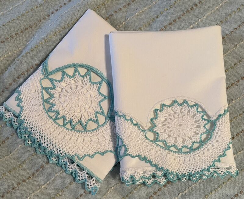 Vintage Pillowcase Pair White /Pale Green Hand Crocheted Trim All Around