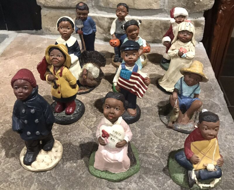 One Dozen Vintage African American Black Figurines Resin - Months Of Year