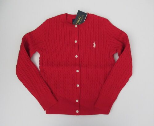 NWT Ralph Lauren Girls Mini Cable Cotton Cardigan Sweater RED 2/2t 3/3t 4/4t NEW