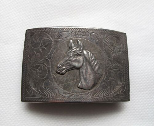 Vintage Sterling Silver Relief Horse Western Mexican Belt Buckle