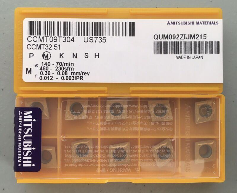 MITSUBISHI CCMT32.51  CCMT09T304 US735 Carbide Inserts (10 pcs) Free Shipping