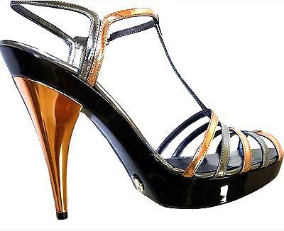 Dolce & Gabbana Bronze Silver Multi strap Mirror Effect Platform Shoes