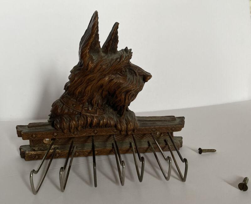 Vintage Syroco Wood Scottie Terrier Dog Wall Mount Tie Rack