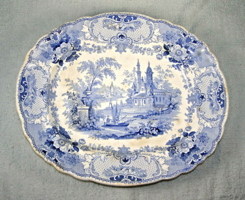 Antique Blue Transfer Ware Platter - Pennsylvania Pattern - Knight & Elkin