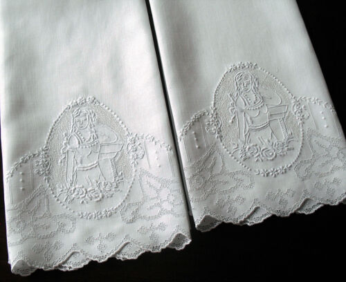Pr Vtg Antique Fine Linen Appenzell Towels w Figural Hand Embroidered Cameo Lady