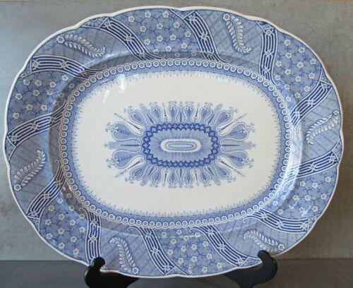 """ANTIQUE RIDGEWAY BLUE & WHITE 17"""" x 13.5""""  WESTERN STAR PLATTER, c. 1814-1832"""