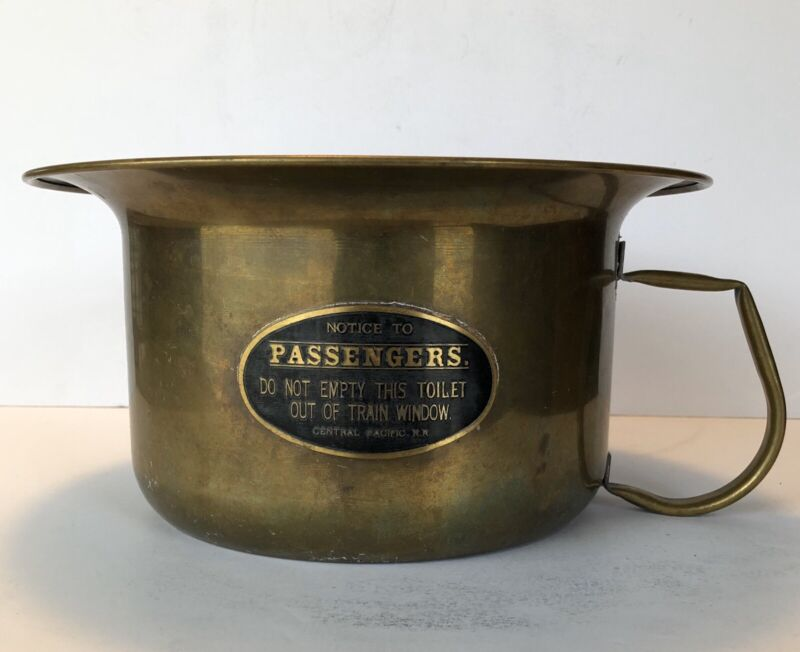 Antique Vintage Brass Railroad Train Chamber Pot Central Pacific RR.