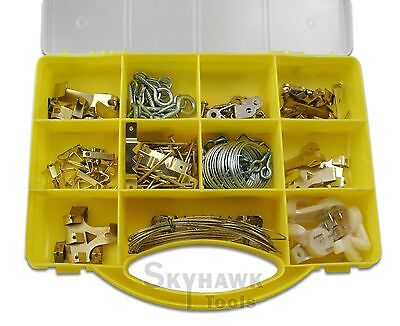New 200 Pc FASTENER PICTURE WALL HANGING HOOKS NAIL WIRE KIT