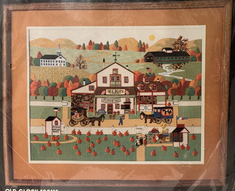"Dimensions OLD GLORY FARMS Crewel Needlework Kit By Charles Wysocki 18""x14"" NIP"