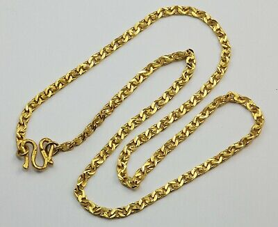 24K Solid Yellow Gold Diamond Cut Link Chain Necklace 21.3 Grams