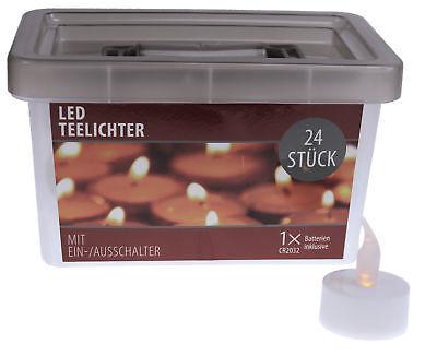 24 LED Teelichter Flackerlicht flackernd flammenlose Teelicht Kerzen + Batterie (Flammenlose Led Tee Lichter)