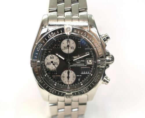$1575.00 - Breitling A13358 Black Dial Chrono Cockpit Stainless Steel 39mm Watch