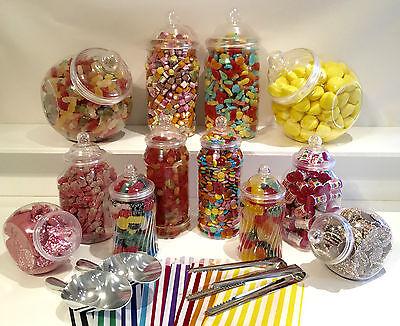 JUMBO Plastic Sweet Jars 12 jars 100 bags 2 Scoops 2 tongs DIY Candy Buffet ](Buffet Jars)