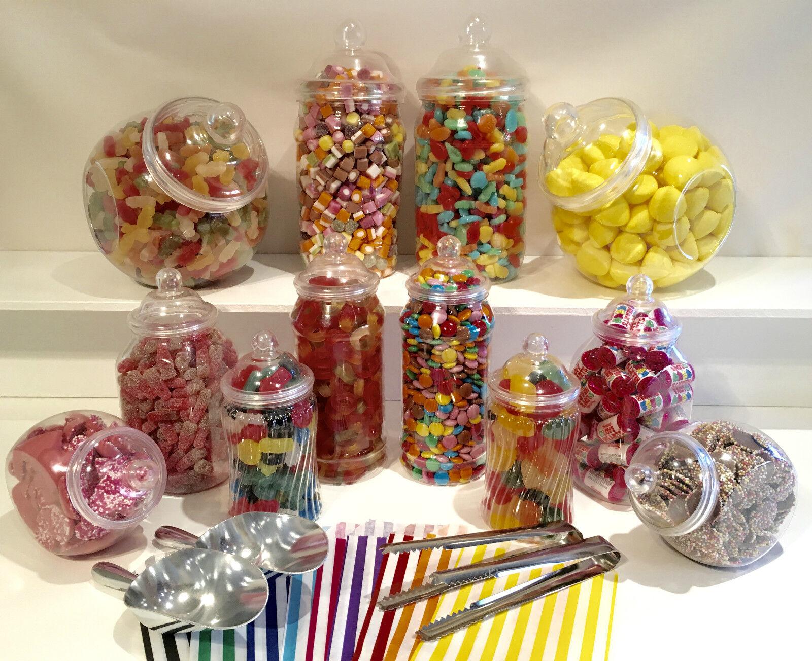 8 divers Plastique Sucré Pots 100 Sacs De 2 Pelles 2 Pince À faire soi-même Candy Buffet