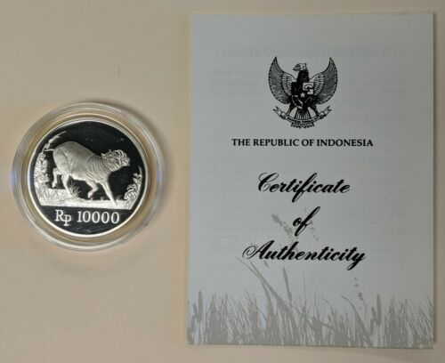 1987 Indonesia 10000 Rupees Proof Silver World Wildlife Fund WWF Babirusa