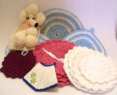 Collection Covered Toilet Roll Holder (Vintage Hand Crocheted  Pot Holders and Poodle Toilet Roll Cover Mid Century )