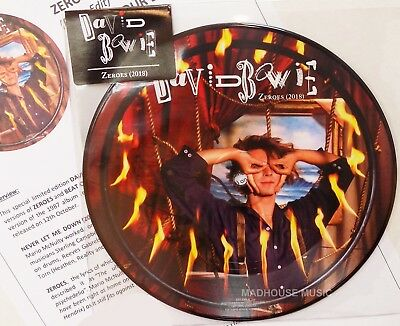 "DAVID BOWIE 7"" Zeros / Beat Of The Drum PICTURE DISC 2018 + Promo Info Sheet"