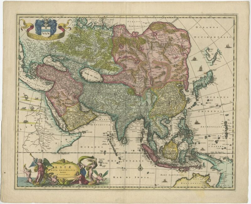 Antique Map of Asia by Visscher (c.1660)