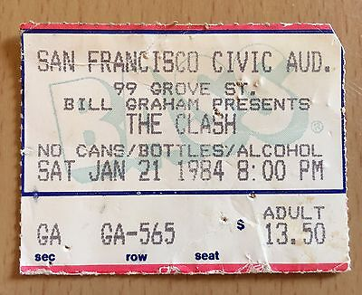 1984 THE CLASH SAN FRANCISCO CONCERT TICKET STUB JOE STRUMMER LONDON CALLING A
