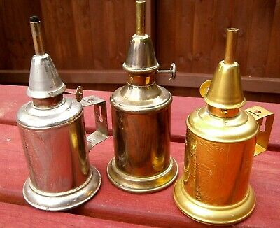 3 X FRENCH BRASS PIGEON OIL LAMPS.