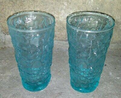 2 Vaseline Uranium Glass Ice Blue Tumbler Glasses Drinking Cups Set-Glowing-MINT