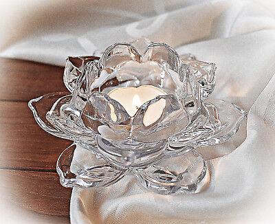 ❀ Rose Teelichthalter Bleikristall Glas Klar 12cm Kristallglas Kerzenhalter 401A