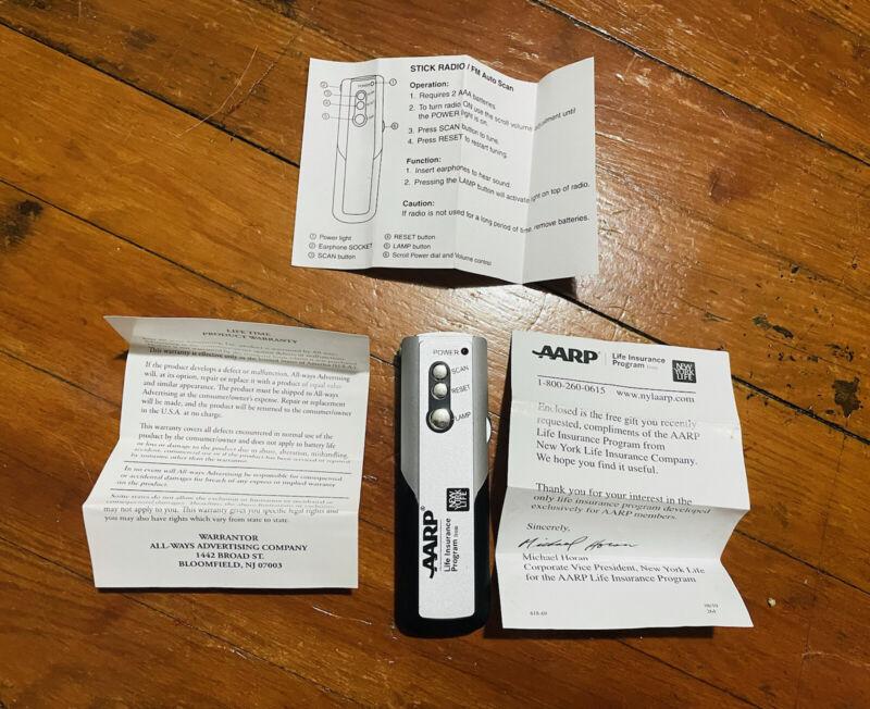 AARP New York Life Insurance Stick FM Radio With Light AS-268