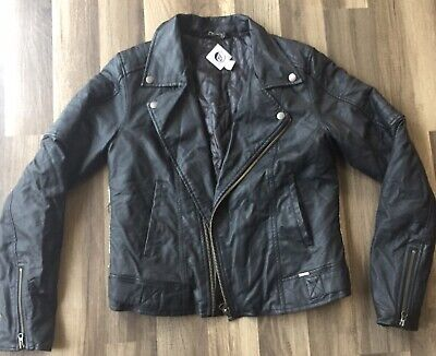 Volcom Womens Leather Jacket  Print Un The Back Size Medium / 12 Back Womens Leather Jacket