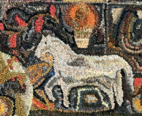 ONE HORSE~ MY PRIMITIVE THINGS COLLECTION ~ LINEN RUG PATTERN