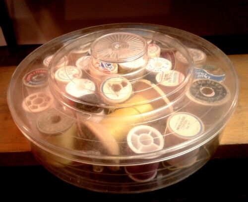 Vintage Thread Holder Caddy with Spools Round and Clear Plastic