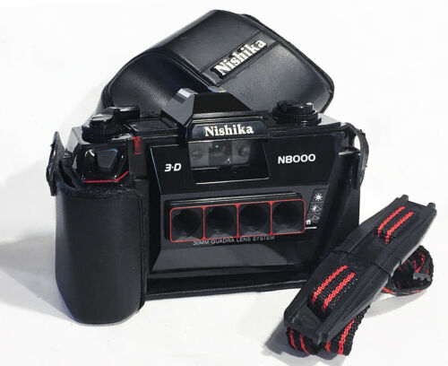 MINT NISHIKA N8000 3-D 35MM CAMERA w/ EVER READY CASE & STRAP FILM TESTED