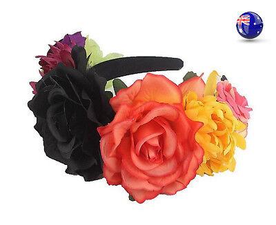 Women BLACK orange flower Halloween Bride Party Hair Headband tiara Prop Garland
