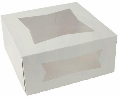Pie Bakery Box 8 X 8 X 4 White Auto-popup With Window - 25 Pieces